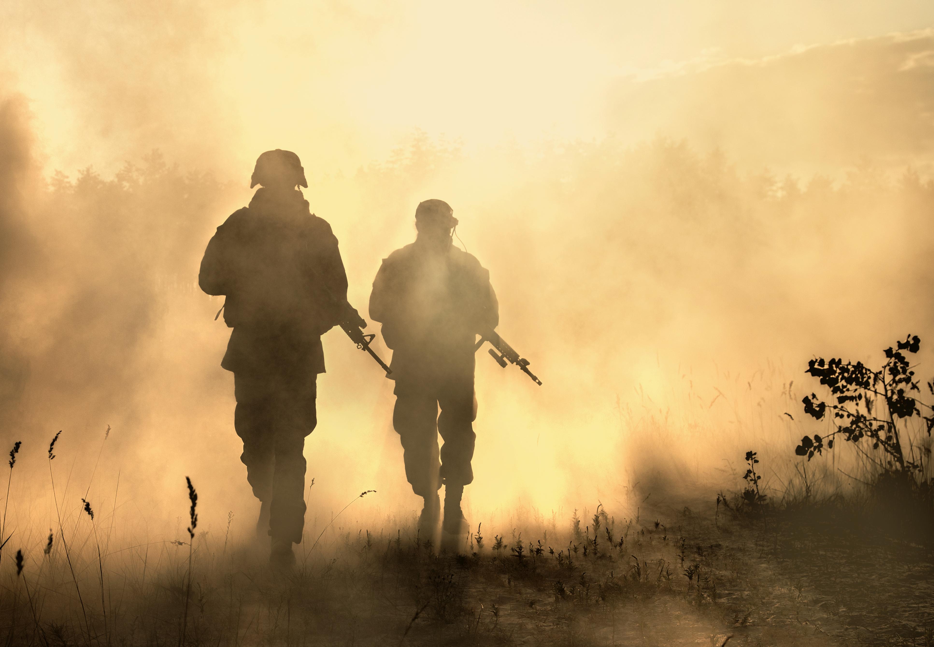 US Marines in action. Desert sandstorm